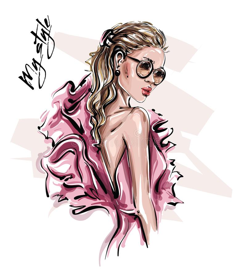Hand drawn beautiful young woman in sunglasses. Stylish girl in pink dress. Fashion woman look. Sketch. Vector illustration royalty free illustration