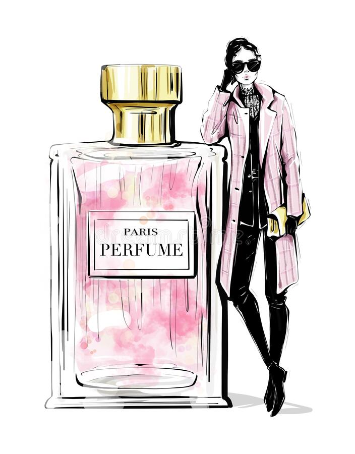 Free Hand Drawn Beautiful Young Woman With Large Perfume Bottle. Fashion Look. Stylish Girl In Fashion Clothes. Woman In Pink Coat. Royalty Free Stock Image - 174612496