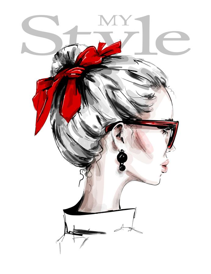 Free Hand Drawn Beautiful Young Woman With Red Headband. Female Profile. Stylish Girl In Sunglasses. Fashion Woman Look. Red Bow. Royalty Free Stock Photo - 147851345