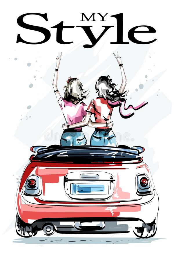 Hand drawn beautiful young women in red car. Stylish elegant girls. Two girls embracing each other. Fashion women look. stock illustration
