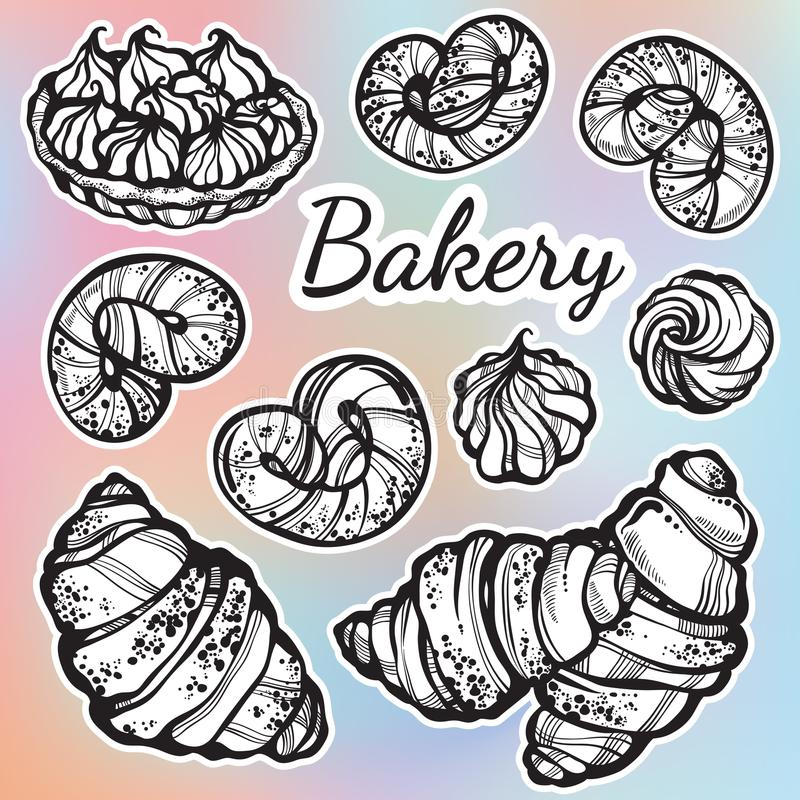 Hand-drawn beautifully buns collection. Vector bakery icons, vintage food elements in linear style isolated on colorful background stock illustration