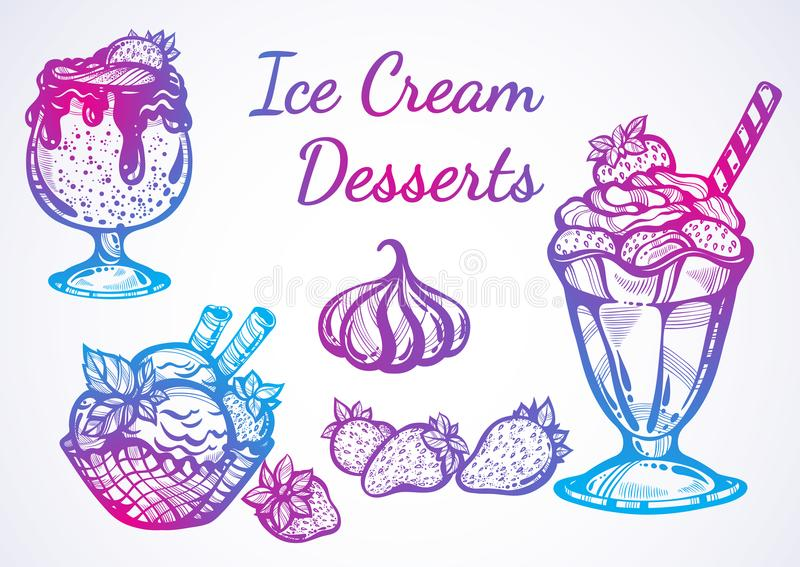 Hand-drawn beautifully Ice Cream desserts collection. Vector graphic icons, vintage food outline elements isolated. Perfect menu template. Print, poster vector illustration