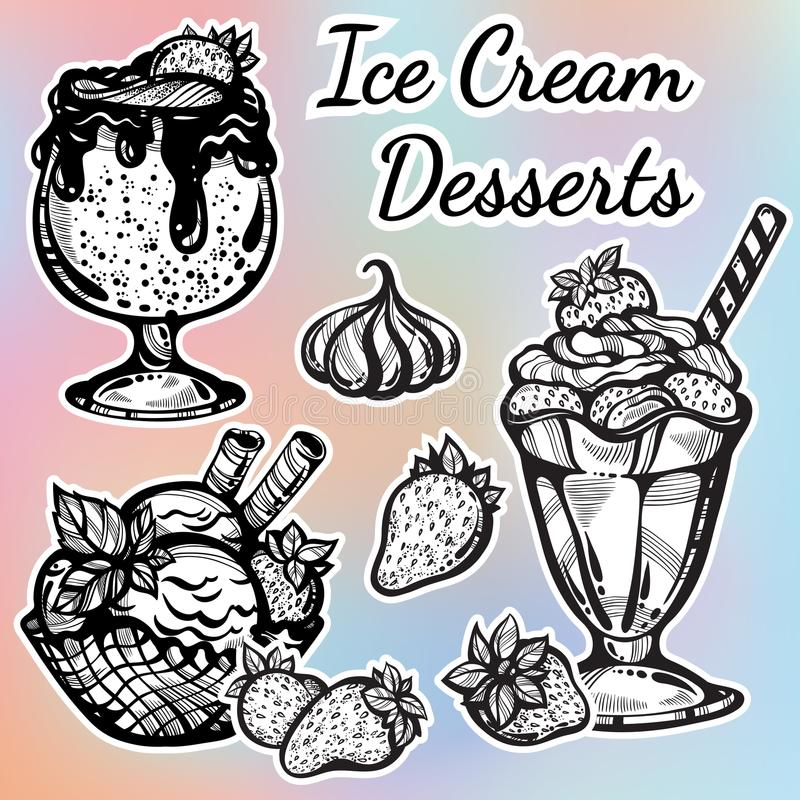Hand-drawn beautifully Ice Cream desserts collection. Vector graphic icons, vintage food outline elements isolated. Perfect menu template. Print, poster royalty free illustration