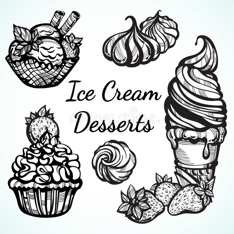 Hand-drawn beautifully Ice Cream desserts collection. Vector graphic icons, vintage food outline elements isolated. Perfect menu t stock illustration