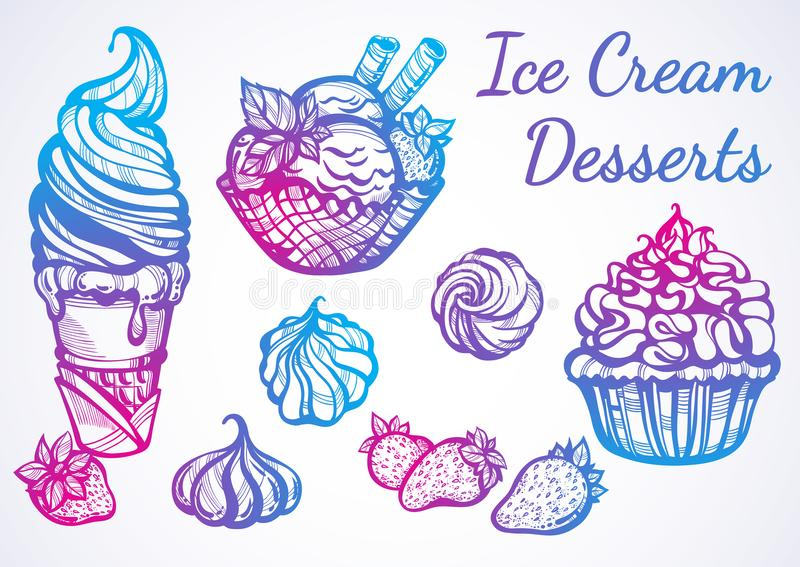 Hand-drawn beautifully Ice Cream desserts collection. Vector graphic icons, vintage food outline elements isolated. Perfect menu template. Print, poster stock illustration