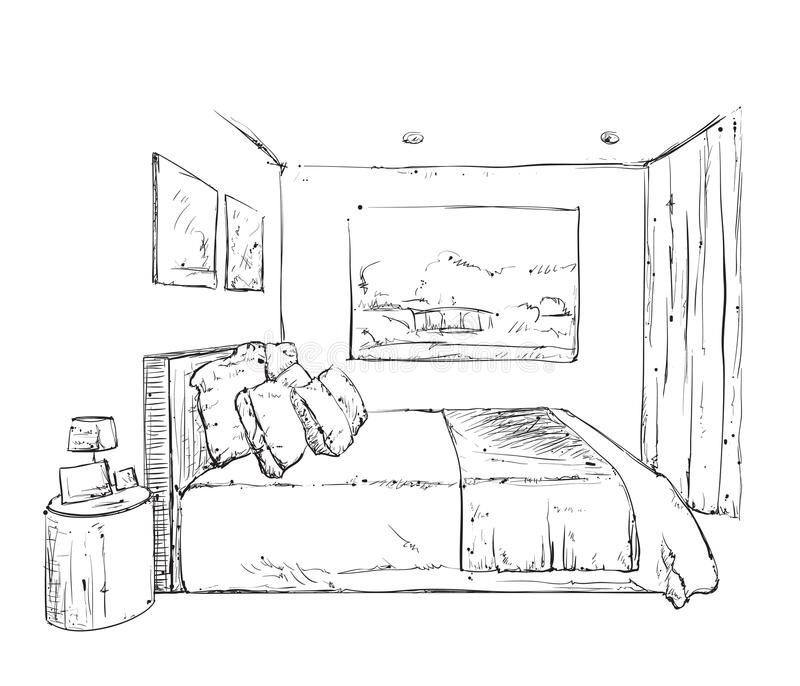 Hand Drawn Bedroom Interior Sketch Stock Vector