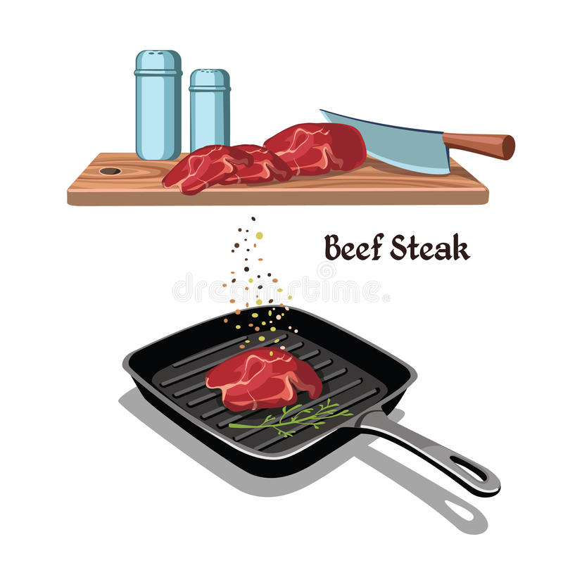 Hand Drawn Beef Steak Cooking Concept. With meat frying on pan butcher knife and spices isolated vector illustration stock illustration