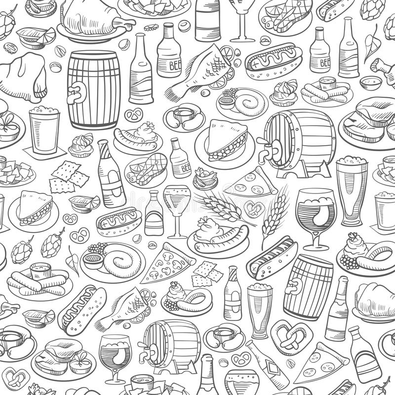 Hand drawn beer and food, seamless background vector illustration