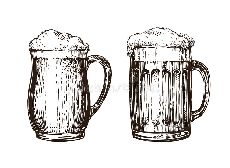 Hand drawn beer mug. Elements for design menu restaurant or pub. Sketch vector illustration. Isolated on white background royalty free illustration