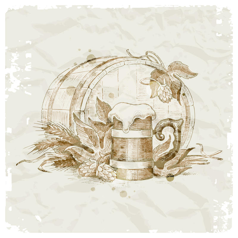 Download Hand drawn beer still life stock vector. Image of foam - 23459483