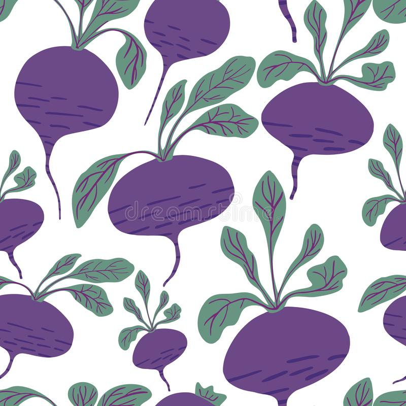 Hand drawn beet seamless pattern on white background. Doodle beetroot wallpaper. Design for fabric, textile print, wrapping paper, children textile. Vector stock illustration
