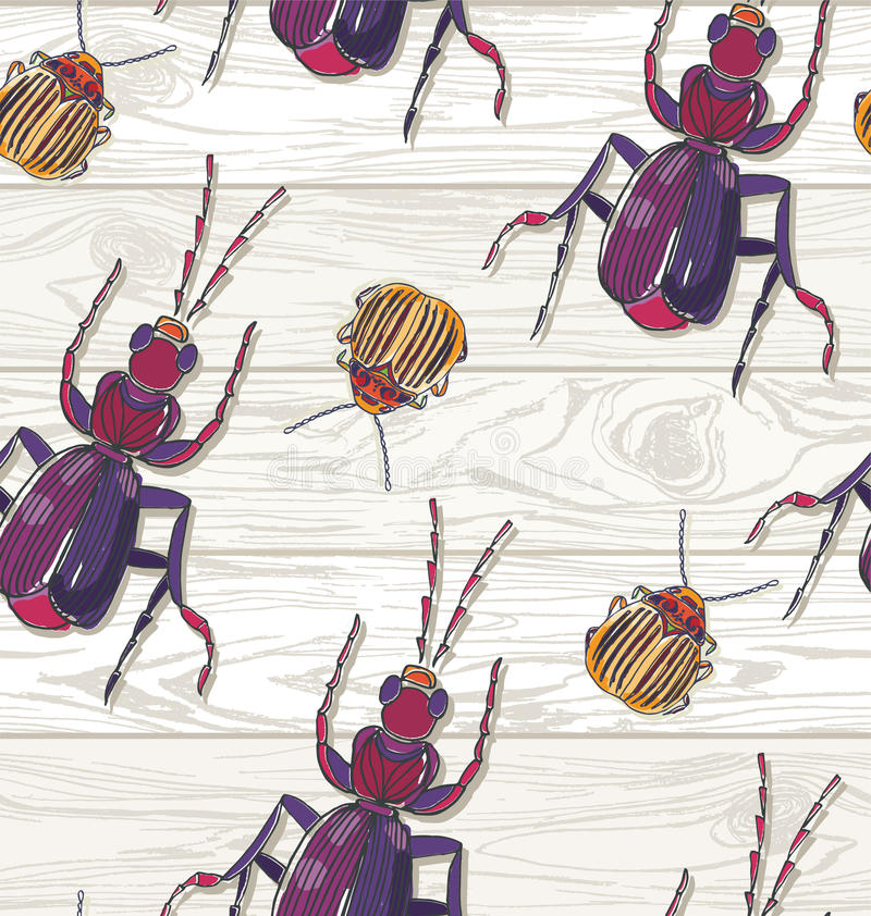 Hand drawn Beetles on wooden background. Seamless pattern. Colorado beetlr, ant vector illustration