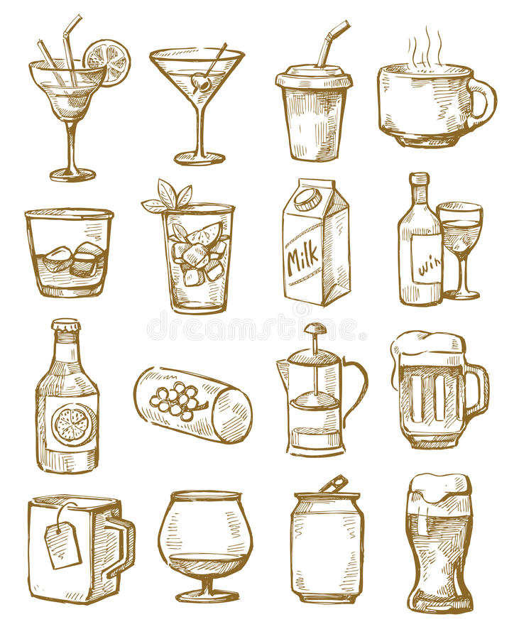 Download Hand drawn beverages stock vector. Image of sketch, elements - 31536114