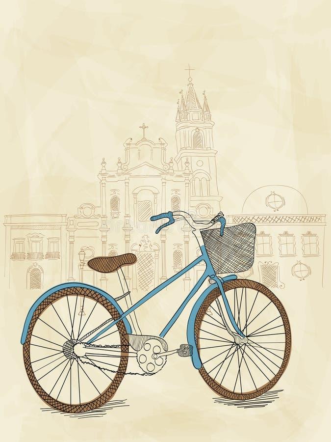 Hand drawn bicycle royalty free illustration