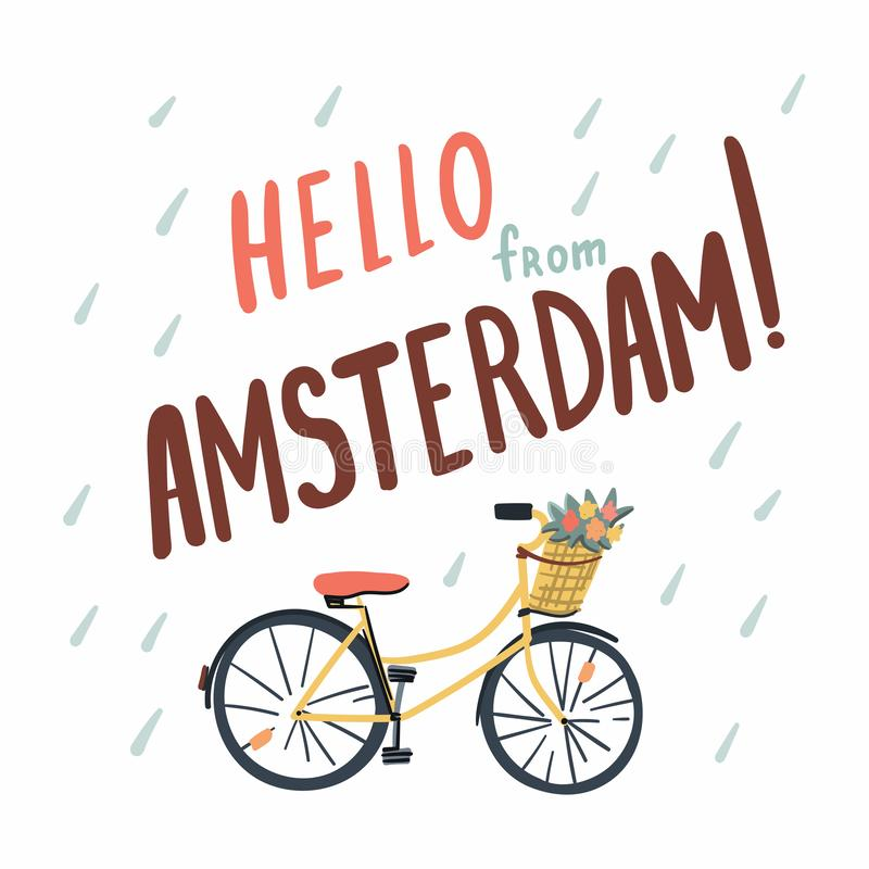 Hand drawn bicycle in Amsterdam. Doodle style illustration. Stock vector royalty free illustration