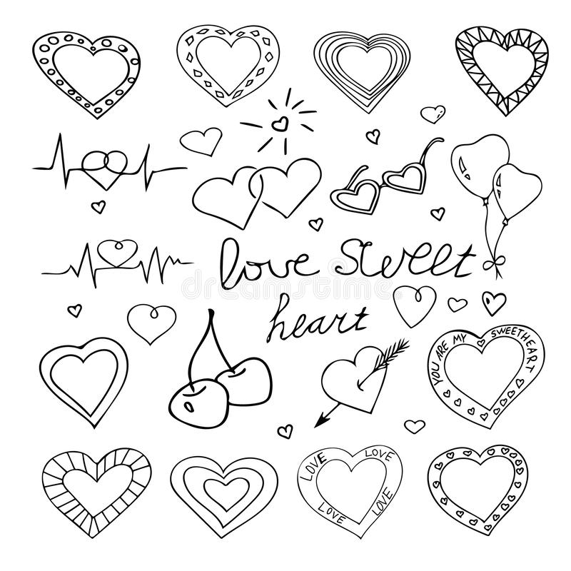 Hand drawn big set hearts for valentines day. doodle heart collection. Decor elements vector illustration