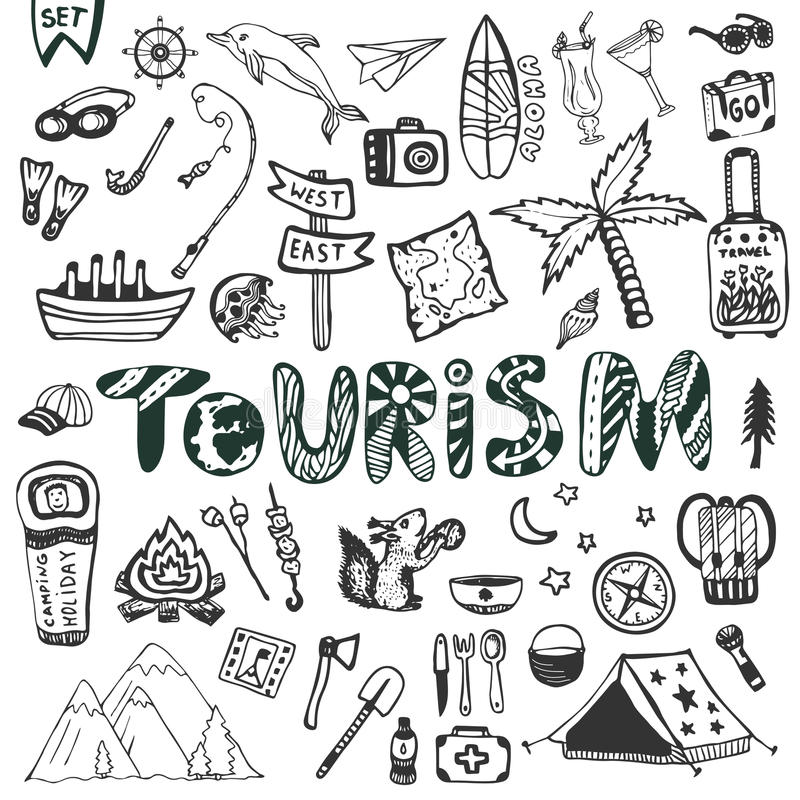 Hand drawn big set. Summer holiday - camping and sea vacation. Travel icons vector collection. Doodle tourism lettering vector illustration