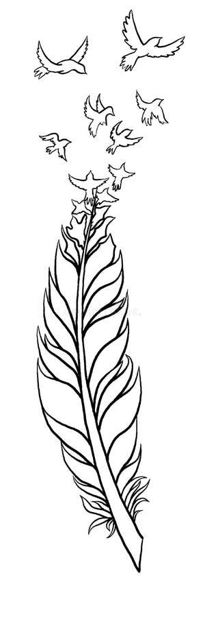 Feather Tattoo Design stock illustration