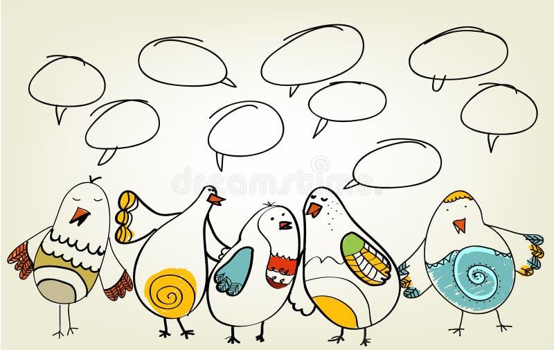 Hand drawn birds vector illustration