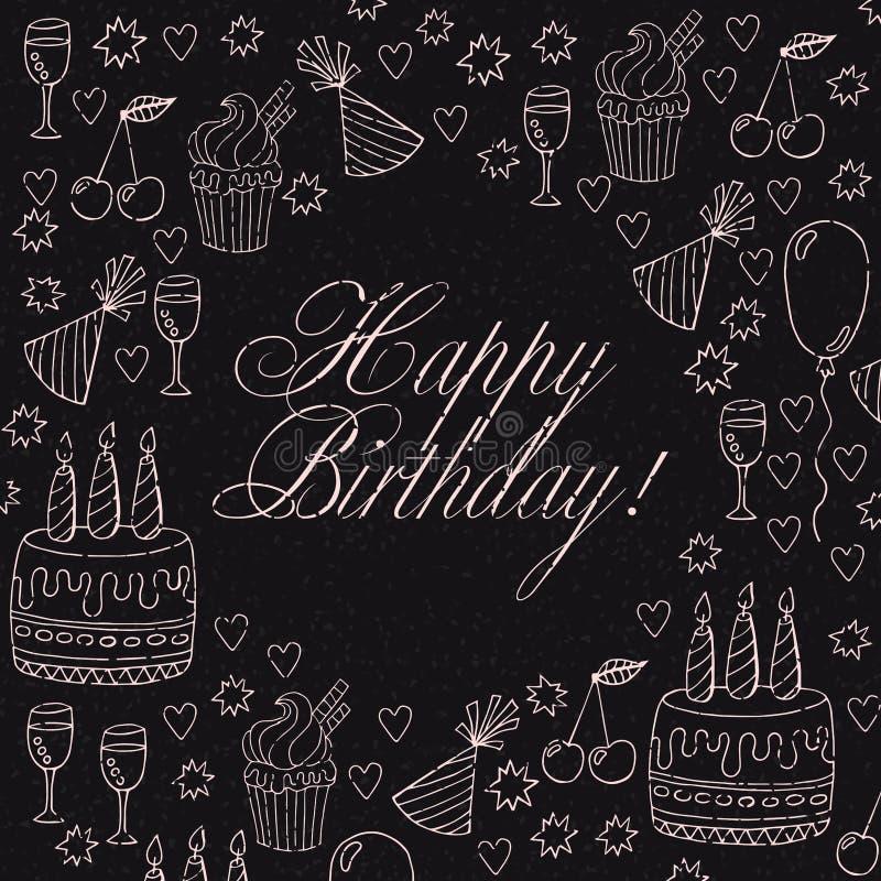 Hand drawn birthday card or birthday invitation royalty free illustration