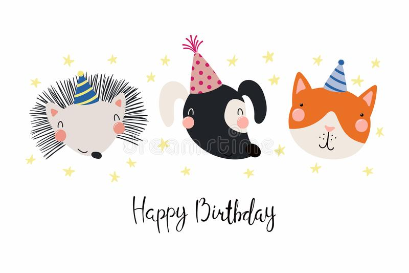 Cute animals birthday card stock illustration