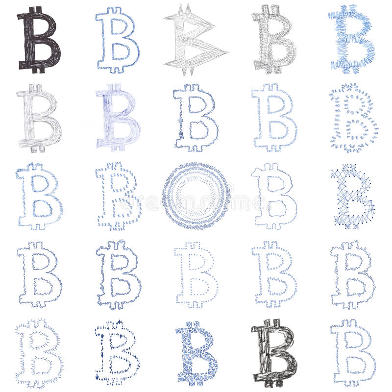 Hand-drawn Bitcoin symbol collage royalty free stock photography