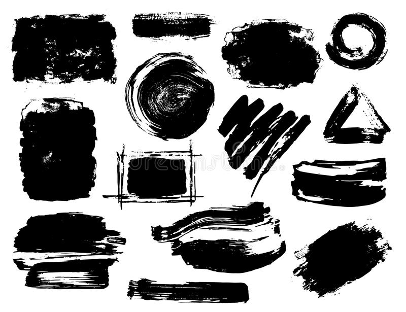 Hand drawn black abstract dry brush paint ink strokes royalty free illustration