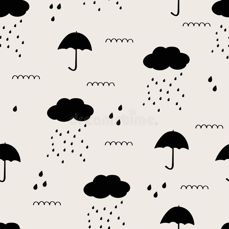 Hand drawn black abstract seamless pattern. Rain, waves, clouds, space background royalty free illustration