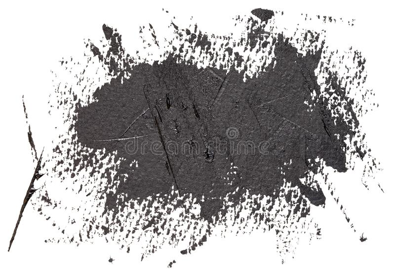 Hand drawn black brush strokes oil paint isolated stock images
