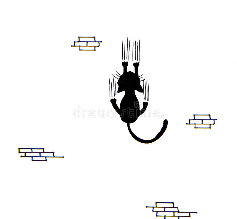 Hand drawn of Black cat scratching wall stock illustration