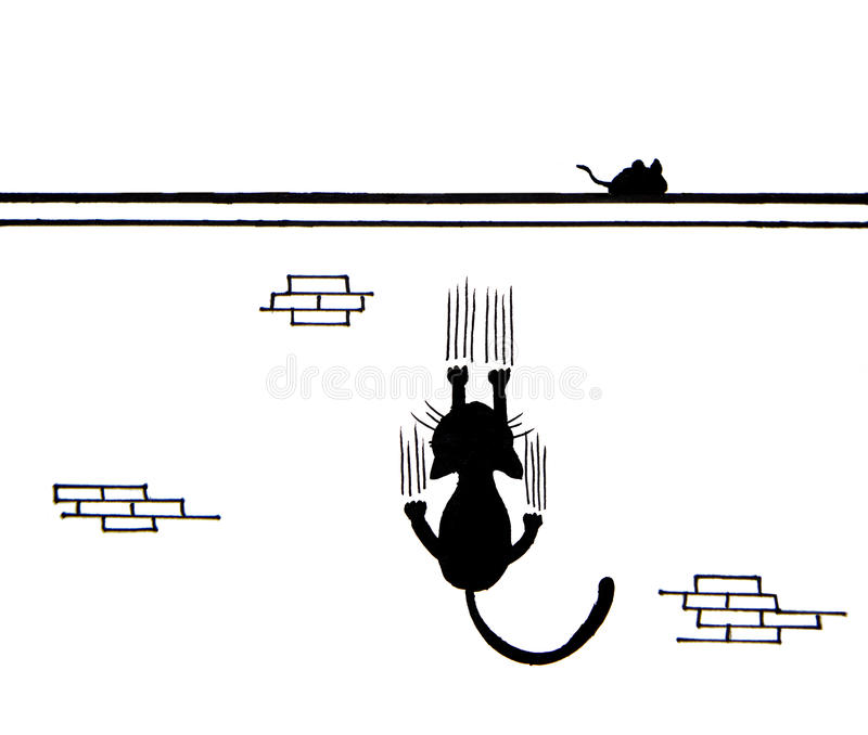 Hand drawn of Black cat scratching wall and a mouse on wall royalty free illustration