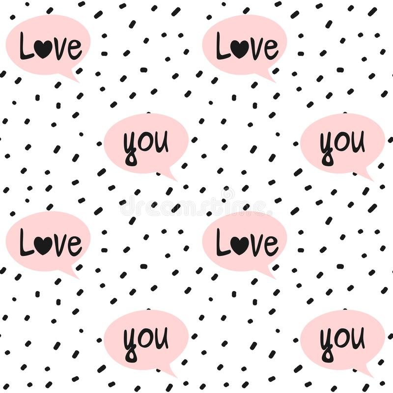 Hand drawn black confetti on white background simple abstract seamless vector pattern illustration with pink speech bubbles and lo stock illustration