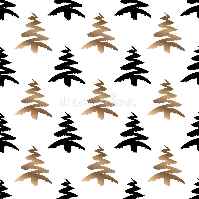 Hand drawn black and gold christmas tree seamless pattern isolated on a white background. stock illustration