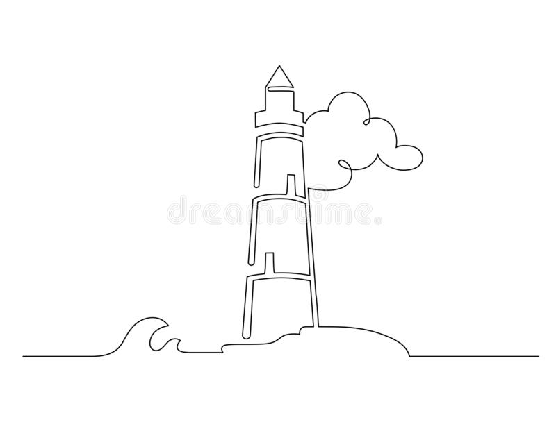 Hand drawn black line lighthouse isolated on white background. stock illustration