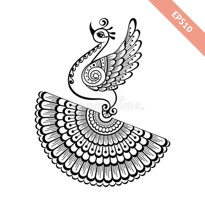 Hand drawn black line peacock mehendi style.Decoration in ethnic Indian style. royalty free stock image