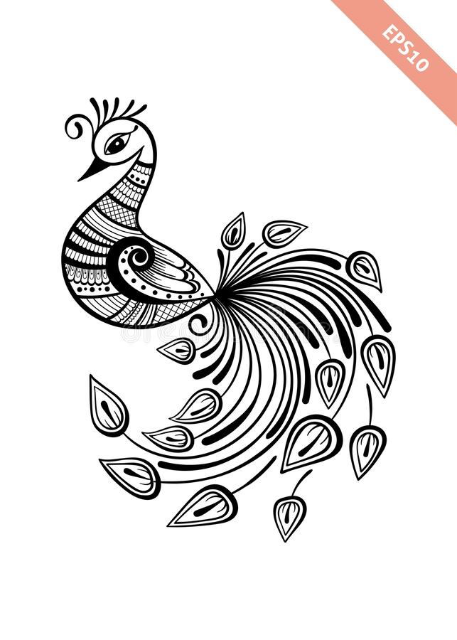 Hand drawn black line peacock mehendi style.Decoration in ethnic Indian style. royalty free stock photos