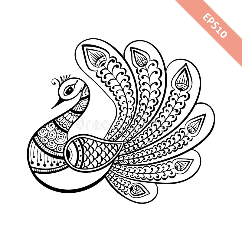 Hand drawn black line peacock mehendi style.Decoration in ethnic Indian style. stock image