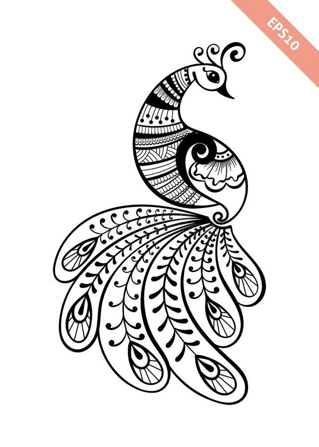 Hand drawn black line peacock mehendi style. stock photography
