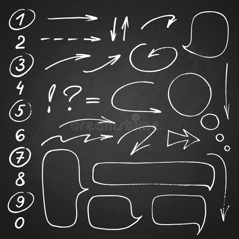 Hand drawn black marker set of numbers and punctuation, along with a few doodles: arrows, circles and other symbols. Messy and quick handwriting vector illustration