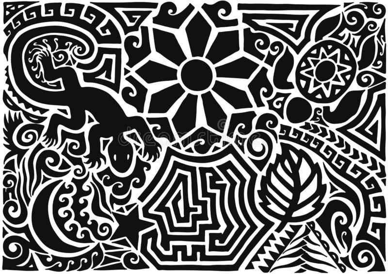 Hand drawn black tattoo pattern in maori style with turtle, sun or flower, leaf, moon, star and lizard on white background. vector illustration