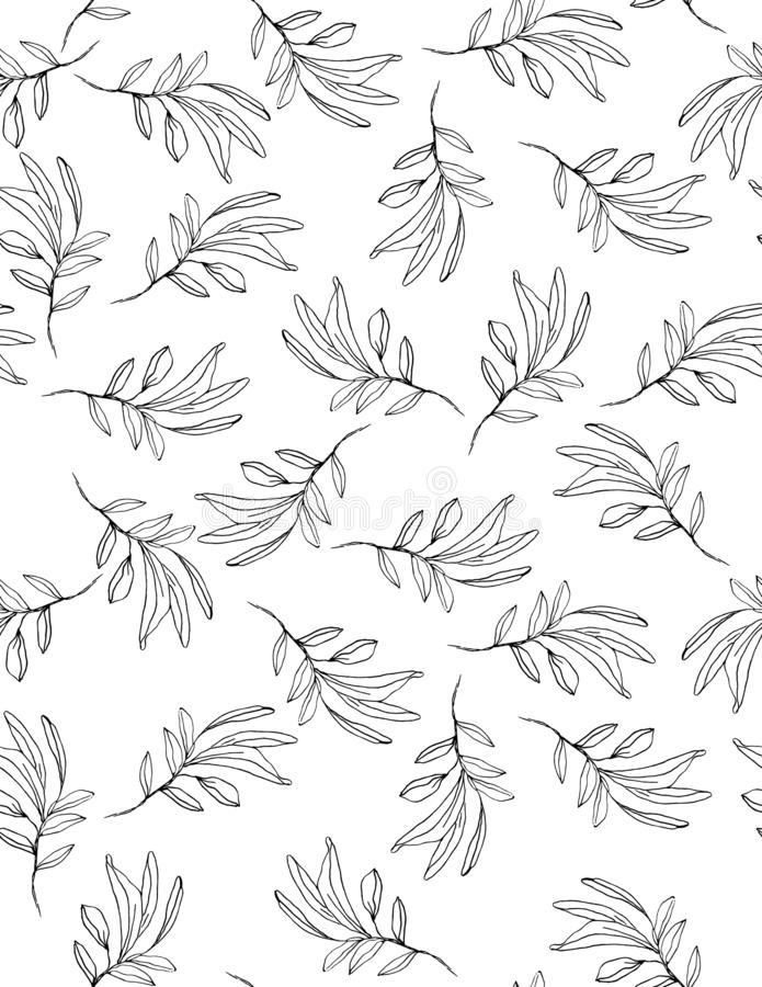 Hand Drawn Black Twigs Vector Pattern. Delicate Romantic Garden Illustration. Black Twigs on a White Background. Lovely Repeatable Floral Design. Sketched royalty free illustration