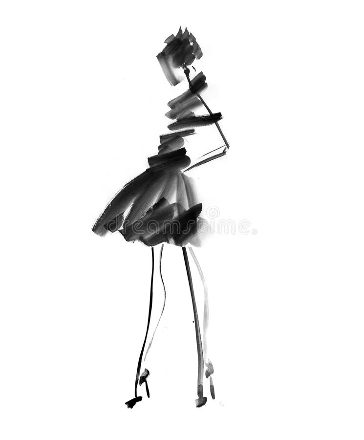 Hand Drawn Black And White Fashion Sketch. Stock ...