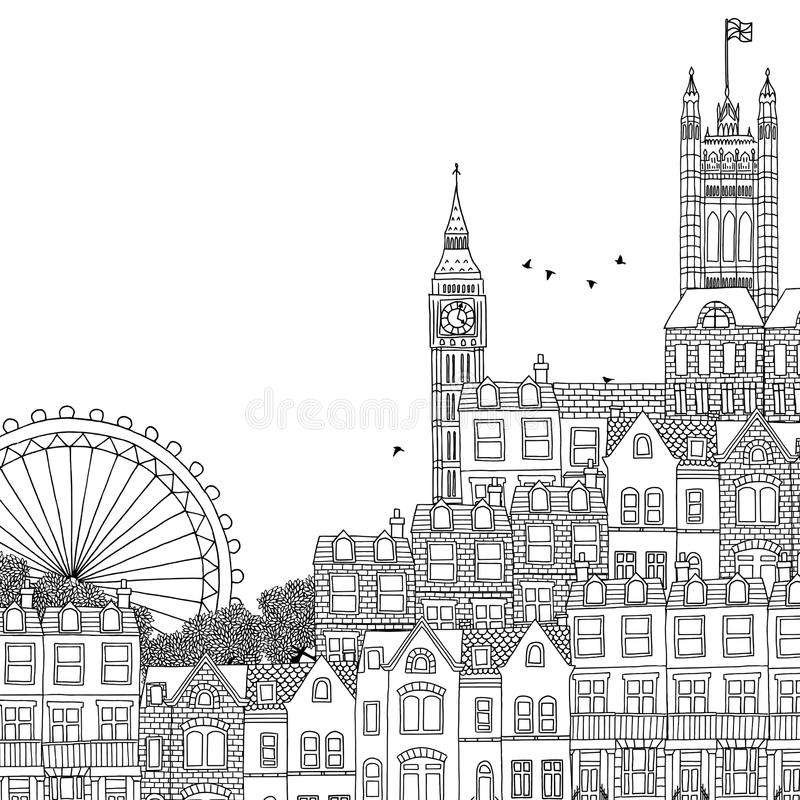 europe landmarks coloring pages | Hand Drawn Black And White Illustration Of London Stock ...
