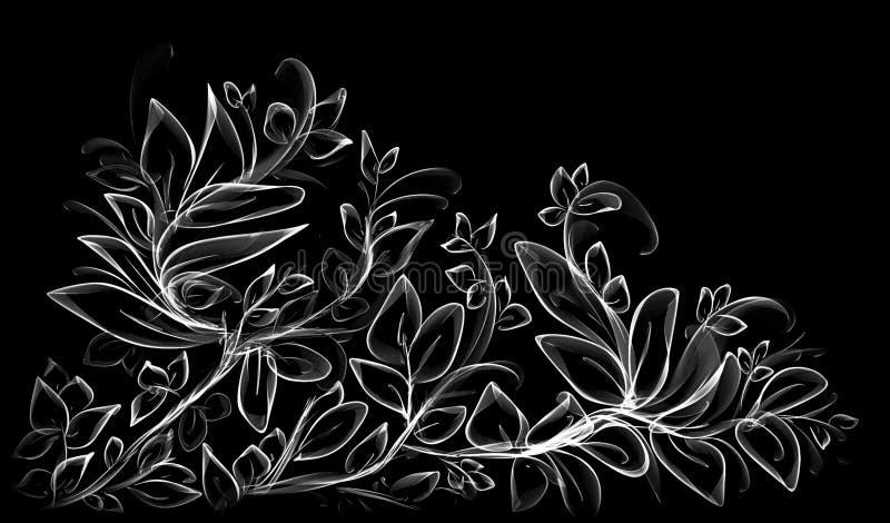 hand drawn black and white leafy design stock image