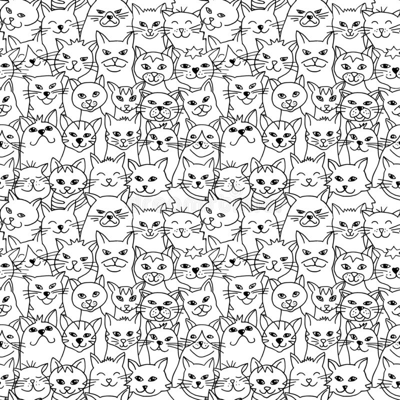 Seamless pattern of hand drawn cats royalty free illustration
