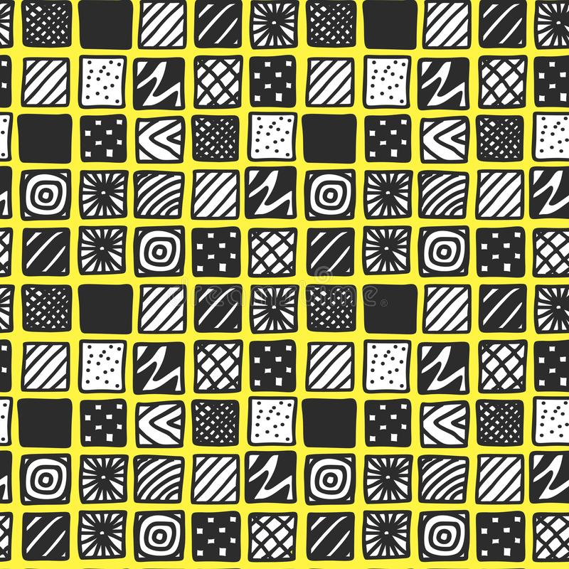 Hand drawn black and white patterned squares on yellow background vector illustration
