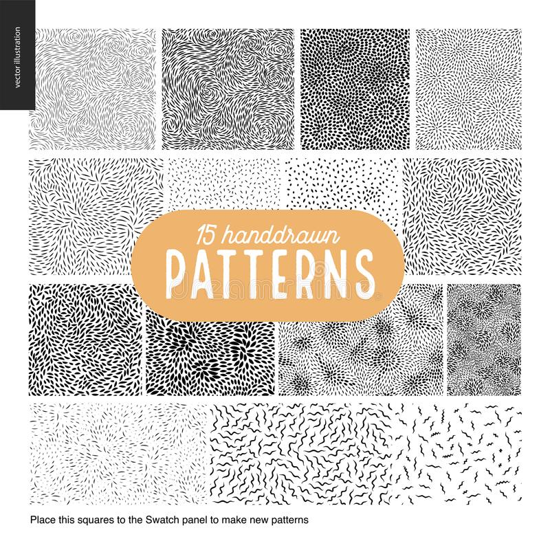 Hand drawn black and white 15 patterns set vector illustration