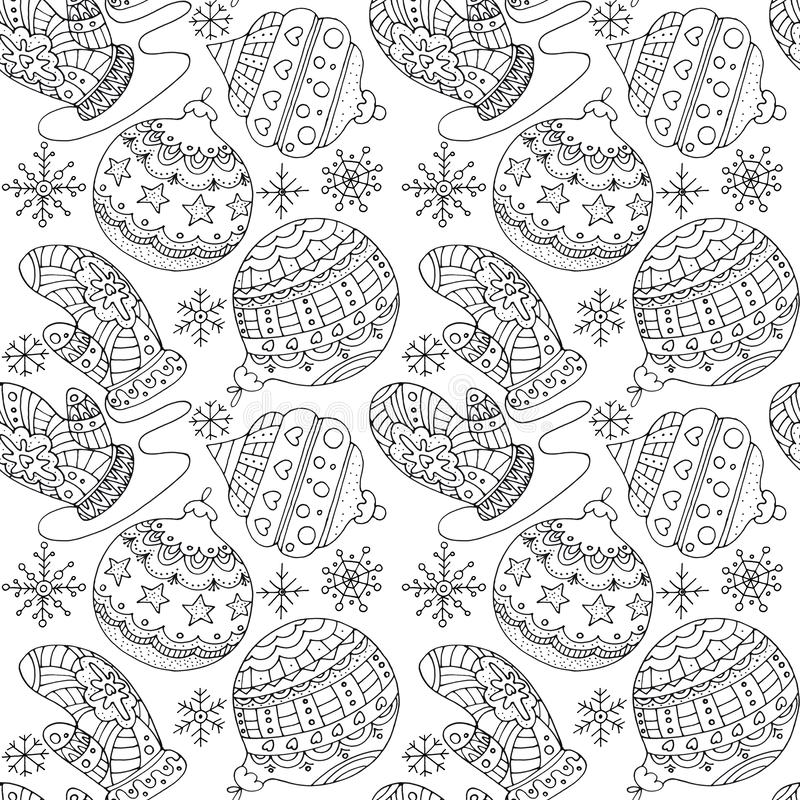Hand drawn black and white seamless pattern Christmas balls, snowflakes and mittens. Pattern for coloring book page for adults and kids. Flat illustration for royalty free illustration