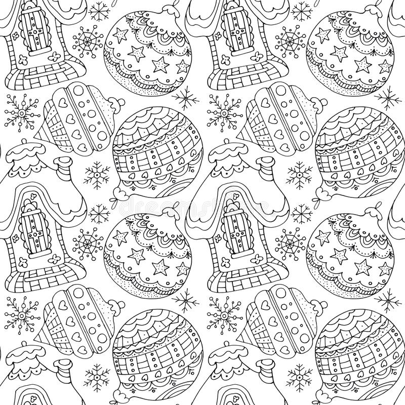 Hand drawn black and white seamless pattern Christmas snowflakes, balls and house. Pattern for coloring book page for adults and kids. Flat illustration for stock images