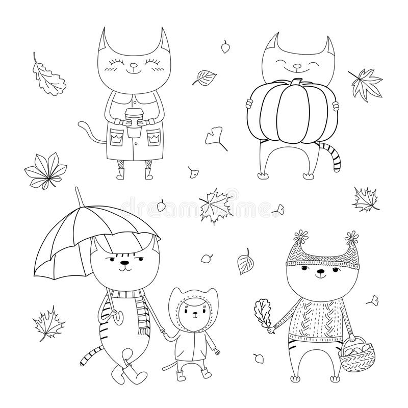 Cute autumn cats coloring pages. Hand drawn black and white vector illustration of cute cats, with paper cup, basket with mushrooms, pumpkin, umbrella, falling vector illustration